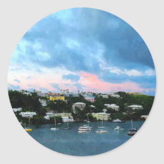King's Wharf Bermuda Harbor Sunrise Classic Round Sticker