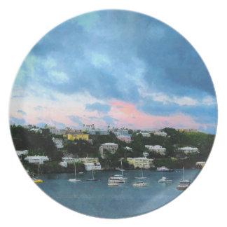 King's Wharf Bermuda Harbor Sunrise Plate