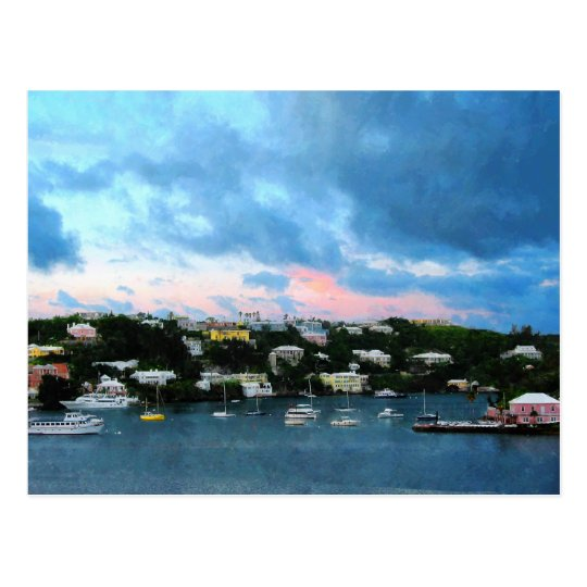King's Wharf Bermuda Harbor Sunrise Postcard