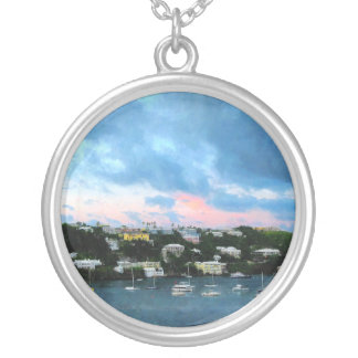 King's Wharf Bermuda Harbor Sunrise Round Pendant Necklace
