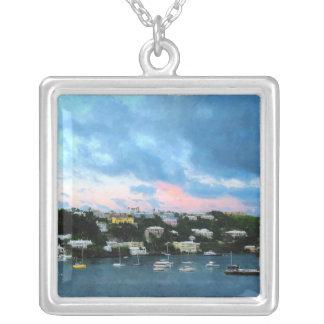 King's Wharf Bermuda Harbor Sunrise Square Pendant Necklace