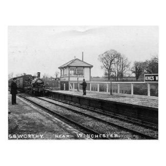 King's Worthy Railway Station Vintage Postcard