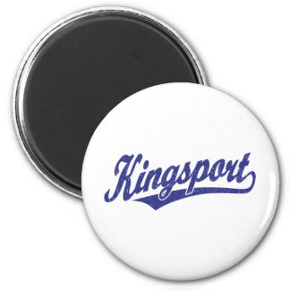 Kingsport script logo in blue distressed 2 inch round magnet