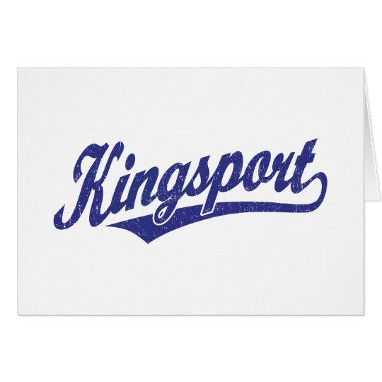 Kingsport script logo in blue distressed card