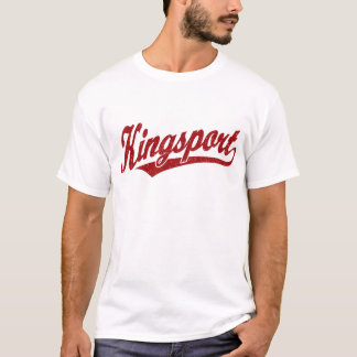 Kingsport script logo in red distressed T-Shirt