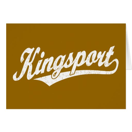 Kingsport script logo in white distressed greeting card