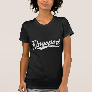 Kingsport script logo in white distressed t shirts