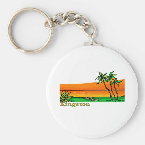 Kingston, Jamaica Basic Round Button Keychain