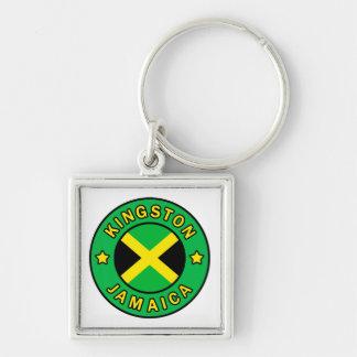 Kingston Jamaica Llavero Cuadrado Plateado