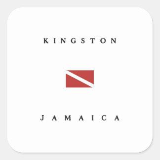 Kingston Jamaica Scuba Dive Flag Square Stickers