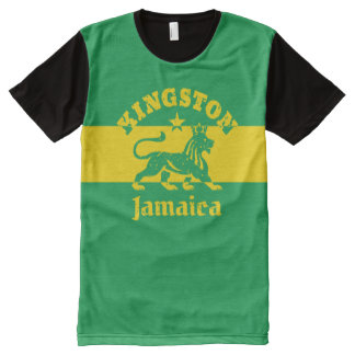 Kingston Jamaica Vintage Rasta Lion All-Over-Print T-Shirt