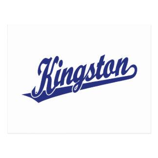 Kingston script logo in Blue Postcard
