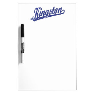Kingston script logo in distressed Blue Dry-Erase Board
