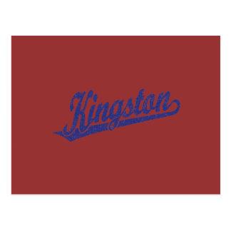 Kingston script logo in distressed Blue Postcard