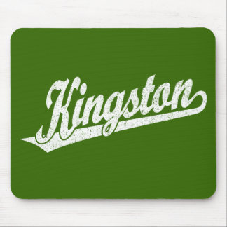 Kingston script logo in distressed White Mouse Pad