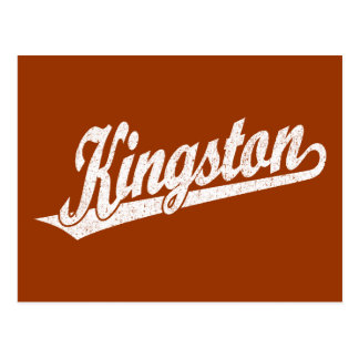 Kingston script logo in distressed White Postcard