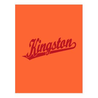 Kingston script logo in Red Postcard