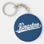 Kingston script logo in White Keychain
