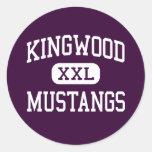 Kingwood - mustangos - High School secundaria - Etiqueta Redonda