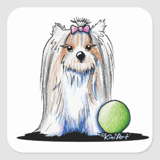 KiniArt Biewer Yorkie Terrier Square Sticker