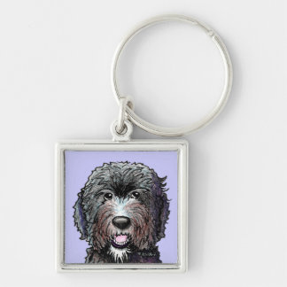 KiniArt Black Doodle Silver-Colored Square Keychain