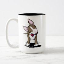 KiniArt Brindle Bull Terrier Two-Tone Coffee Mug