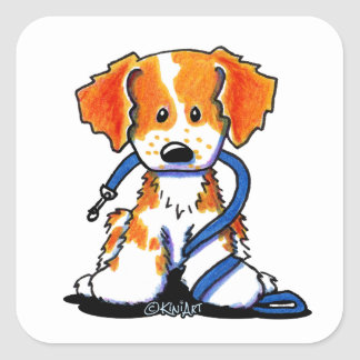 KiniArt Brittany Dog And Leash Square Sticker