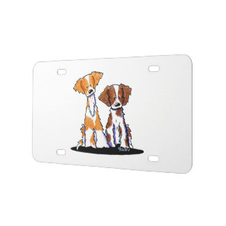 KiniArt Brittany Dog Duo License Plate