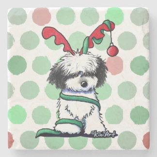 KiniArt BW Christmas Havanese Reindeer Stone Coaster