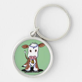 KiniArt Cow Silver-Colored Round Keychain