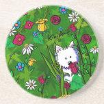 KiniArt Flowerbed Westie Dog Coaster