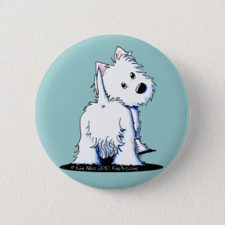 KiniArt Fluffy Butt Westie Button