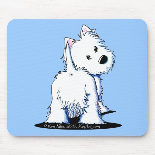 KiniArt Fluffy Butt Westie Mouse Pad