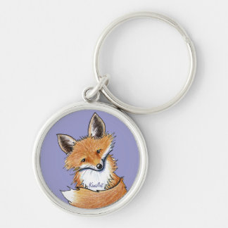 KiniArt Fox Silver-Colored Round Keychain