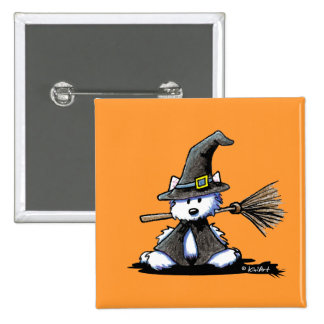 KiniArt Halloween Westie Witch 2 Inch Square Button