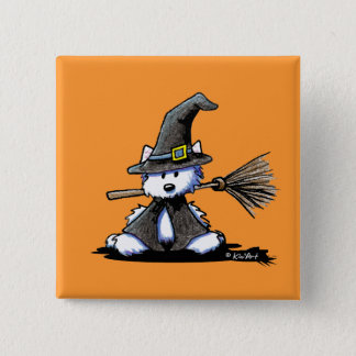 KiniArt Halloween Westie Witch Button
