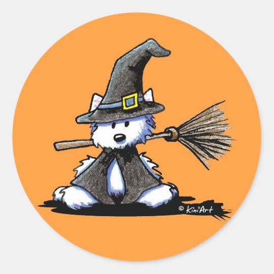 KiniArt Halloween Westie Witch Classic Round Sticker