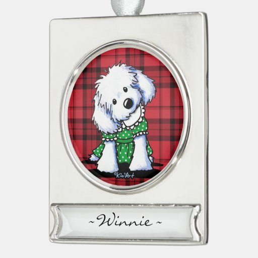 KiniArt Maltese Personalized Ornament Silver Plated Banner Ornament