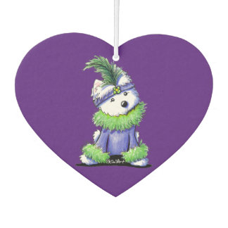 KiniArt Mardi Gras Westie Car Air Freshener