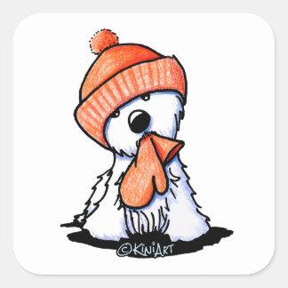 KiniArt Orange Winter Westie Square Sticker