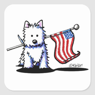 KiniArt Patriotic Westie USA Square Sticker