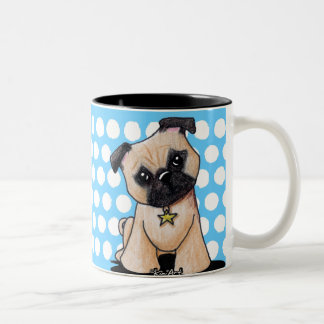 KiniArt Pug Two-Tone Coffee Mug