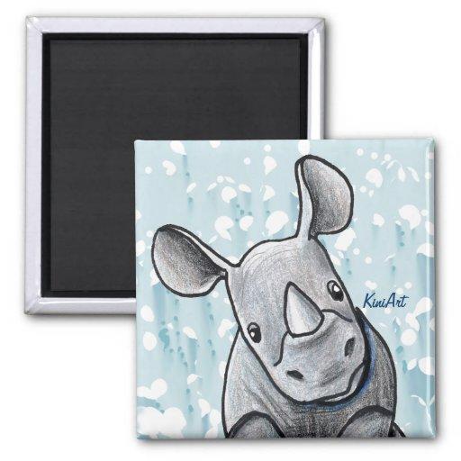 KiniArt Rhino 2 Inch Square Magnet