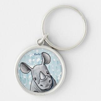 KiniArt Rhino Silver-Colored Round Keychain