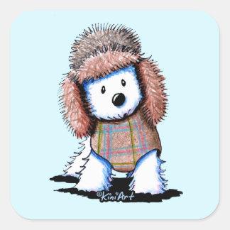KiniArt Russian Winter Westie Square Sticker