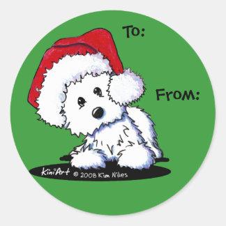KiniArt Santa Westie Dog Gifts Round Sticker