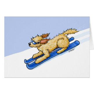 KiniArt Skiing Doodle Dog Card