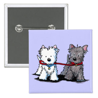 KiniArt Terrier Walking Buddies 2 Inch Square Button