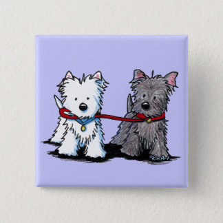 KiniArt Terrier Walking Buddies Button