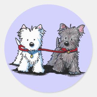 KiniArt Terrier Walking Buddies Classic Round Sticker